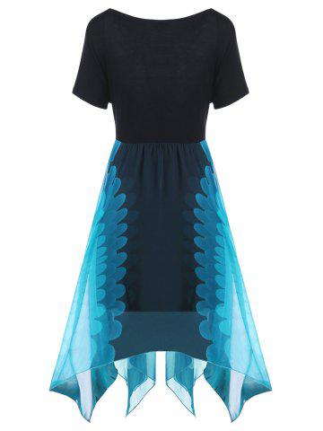 Chic Plus Size High Waist Handkerchief Dress - ONE SIZE BLUE AND BLACK Mobile