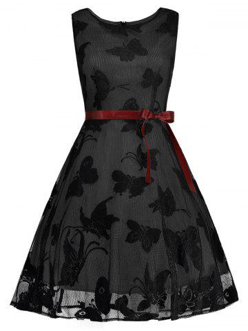 Online Plus Size Butterfly Jacquard A Line Short Formal Dress BLACK AND GREY 5XL