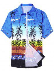 Coconut Tree Printed Short Sleeve Hawaiian Shirt - BLUE