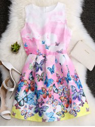 Butterfly Printed A Line Skater Dress