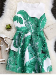 Palm Leaf Print A Line Hawaiian Skater Dress - RAL6002 Vert De Feuilles