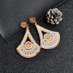 Triangle Fan Hollow Out Wooden Earrings