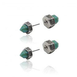 Faux Turquoise Geometric Double Sided Stud Earrings