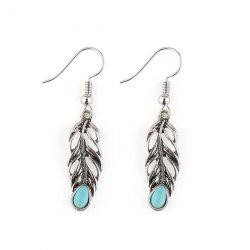 Alloy Leaf Engraved Plated Hook Earrings