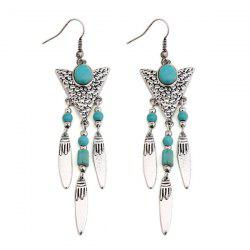 Ethnic Triangle Fringed Faux Turquoise Drop Earrings
