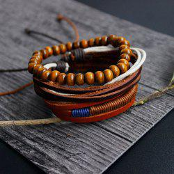 Vintage Layered Beaded Faux Leather Friendship Bracelets