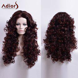 Adiors Long Curled Middle Part Capless Synthetic Wig - DARK AUBURN