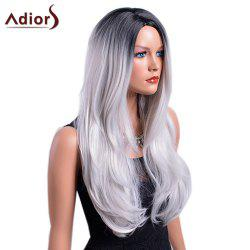 Adiors Long Gradient Middle Part Dark Root Slightly Curly Synthetic Wig