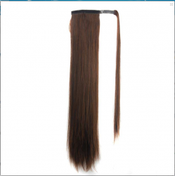 Trendy Heat Resistant Synthetic Long Straight Charming Dark Brown Ponytail For Women