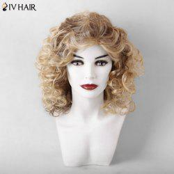 Siv Hair Medium Curly Hairstyle Shaggy Capless Human Hair Wig - COLORMIX