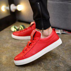 Letter Print Tie Up Casual Shoes - RED