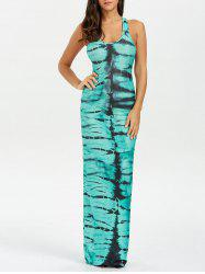 Racerback Tank Tie Dye Maxi Dress - GREEN