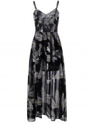 Shirred Waist Feather Print Dress -