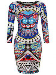 Slim Fit Geometric Print African Print Dresses
