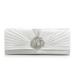 Pleated Rhinestone Satin Evening Bag