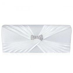 Satin Twist Pleated Clutch Evening Bag - WHITE