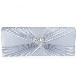 Satin Twist Pleated Clutch Evening Bag -
