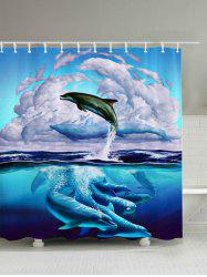 3D Dolphin Leaping Bathroom Shower Curtain