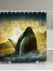 3D Shark Print Bathroom Shower Curtain
