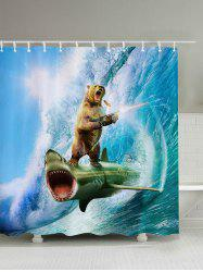 3D Shark Bear Firing Print Shower Curtain