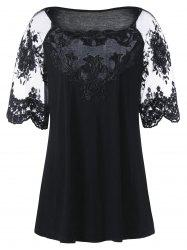Plus Size Embroidery Raglan Sleeve T-Shirt