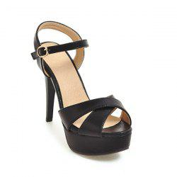 PU Leather Cross Strap Sandals