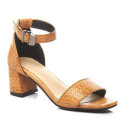 Faux Leather Mid Heel Sandals