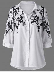Screen Floral Print Button Up Shirt - WHITE AND BLACK 2XL