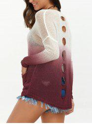 Drop Shoulder Ombre Distressed Long Sleeve Top