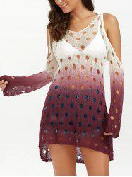Long Sleeve Cold Shoulder Ombre Tunic Cover Up -