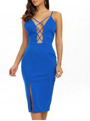 Plunging Neck Strappy Midi Bandage Slip Dress