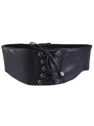 Stars Grommet Elastic Extra Wide Leather Belt