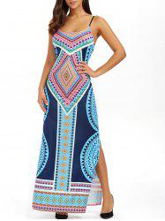Bohemian Geometrical Print Open Back Floor Length Slip Dress