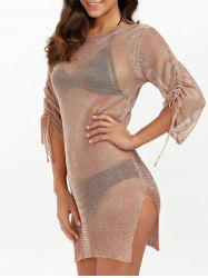 Slit Short Club Dress with Lace Up - BRONZE-COLORED