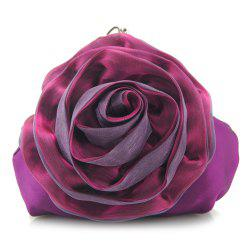 Satin Flower Metal Ring Evening Bag -