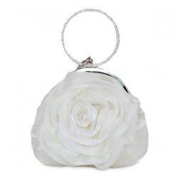 Satin Flower Metal Ring Evening Bag - WHITE