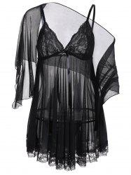 See Through Slip Pajama Top Transparent Sleepwear - BLACK
