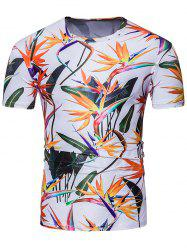 Crew Neck 3D Colorful Flowers Print T-Shirt