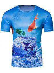 Crew Neck 3D Fish and Ice Print T-Shirt