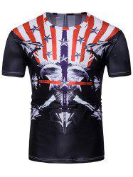 3D Symmetrical Bald Eagle Warplanes Stripe Print T-Shirt