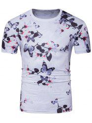 Crew Neck 3D Flowers Print T-Shirt
