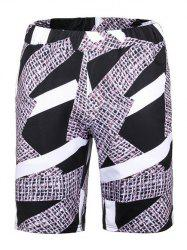 Elastic Waist Irregular Grid Panel Print Board Shorts