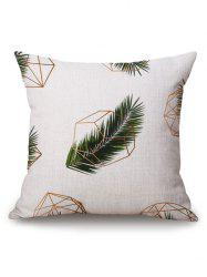Geometric Leaf Printed Pillow Case - OFF-WHITE