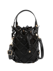 Cut Out FlowersBucket Handbag - BLACK