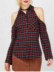 Cold Shoulder Plaid Button Up Shirt