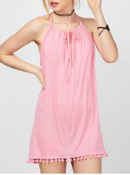 Spaghetti Strap Fringed Mini Casual Cute Dress - PINK