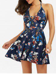 Halter Backless Floral Short Skater Dress - DEEP BLUE