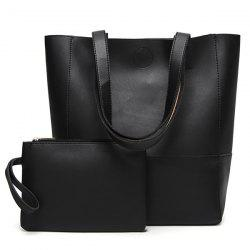 Faux Leather Shopper Bag and Wristlet - BLACK