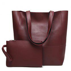Faux Leather Shopper Bag and Wristlet