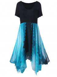 Plus Size High Waist Handkerchief Dress - BLUE AND BLACK